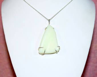 """Large Free Form Lime Green Sea Glass in a Sterling Silver Wire Cage Setting. 16"""" Sterling Silver Chain & Gift Packaging Included."""