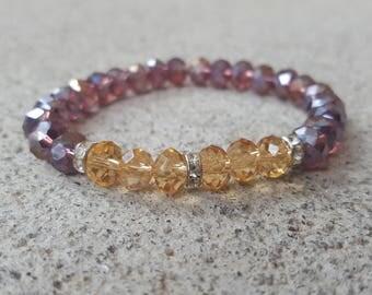 AB Crystal Bracelet, Rhondelle Rhinestones, Stack Bracelet, Beaded Stack Bracelet, Wine and Gold Bracelet, Crystal  Bracelet