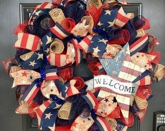 Patriotic Wreath, Memorial Day Wreath,Americana Wreath, July 4th Wreath, Veterans Day Wreath, Flag Wreath, Welcome Wreath, Front Door Wreath
