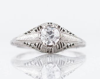 Antique Engagement Ring Art Deco .49 Old European Cut Diamond in 18k White Gold