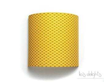 """Applique murale """"Vagues"""" 20cm, jaune moutarde, japonisant, géométrique, abat jour, abatjour"""