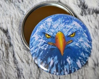 Pocket mirror with a blue eagle