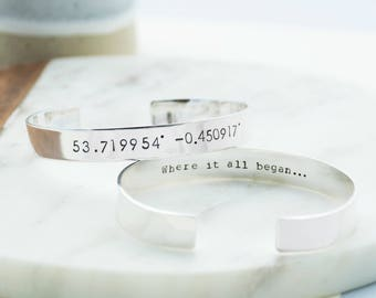 Mens Custom Coordinate Silver Bracelet | Personalised Map Coordinate Sterling Silver Adjustable Bracelet | Gifts for Him | Anniversary Gift
