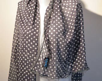 grey scarf with dots