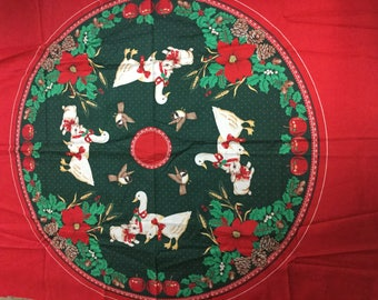 Vintage Christmas Tree Skirt Panel with Quilting Backing! - Geese