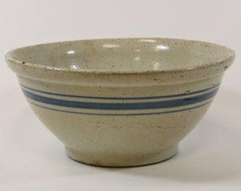 Antique Rustic Stoneware Pottery Blue Stripes Mixing Bowl, 10""
