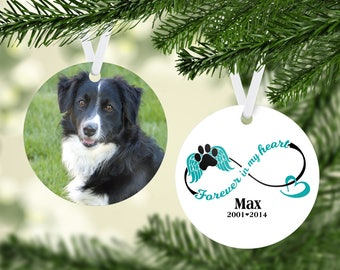 Pet Memorial Photo Ornament, Personalized Christmas Ornament, Pet Photo Ornament