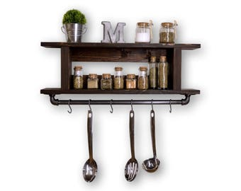 Two Tier Ladder Kitchen Shelf Pot Rack