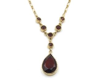 Edwardian 9ct Gold Garnet Necklace
