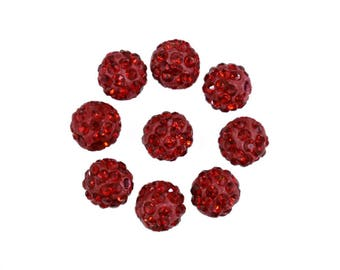 25 Pieces, 8MM Red Colour Czech Crystal Pave Clay Round Disco Ball Bead-EMBCRB5552