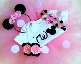 Minnie Mouse birthday outfit- pink - birthday outfit- two
