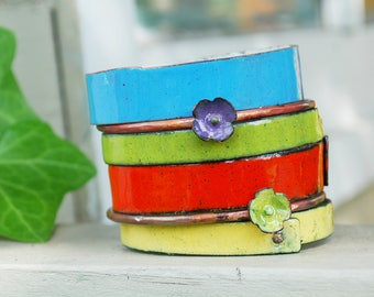 MAKE MY DAY set of enameled bangles, perfect Mother's Day idea, gift for her, copper and vitreous enamel, original handmade gift, wedding