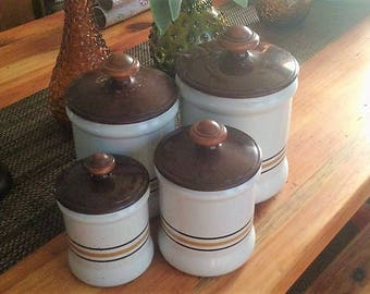 Vintage West Bend Kitchen Metal Canister Set