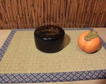 Vintage Japanese Wooden Lacquer Incense Holder Box Landscape Scenery