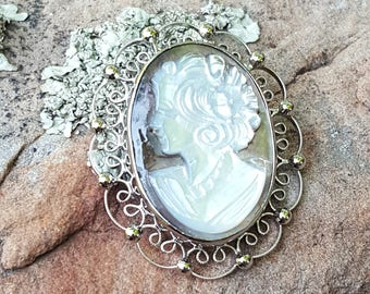 Vintage cameo etsy mother of pearl cameo pendantbroochsterling silver 925lovely sterling filigree aloadofball Choice Image