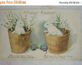 ON SALE till 7/28 Two White Rabbits In Baskets With Flowers A/S Clapsaddle Antique Easter Postcard