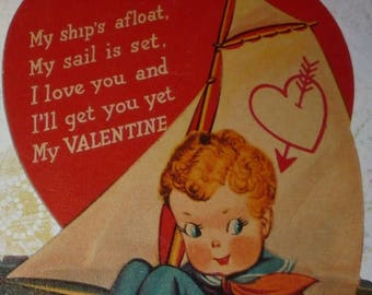 Clearance Sale Sailor Boy in Sailboat on the Water - I'll Get You, Valentine Vintage Card
