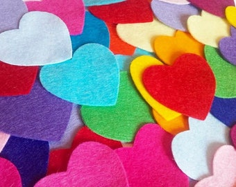 Felt Hearts, Heart Embellishments, Heart Shapes, Felt Cut Hearts, Rainbow Hearts, Mixed Colour Hearts, Felt Craft Supplies