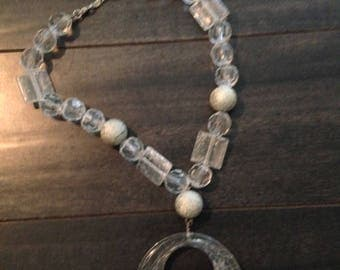 Chunky Translucent Beaded Necklace with Medallion
