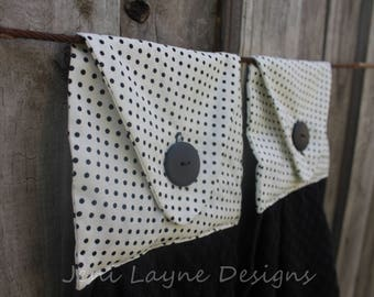 Hanging Kitchen Towels- Set of 2   Kitchen Towels, Kitchen Linens, Hanging Towels, Black towels