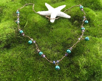 Downton Abbey Style Handmade OOAK Antique Copper Necklace with Teal Glass Pearls and Crystals