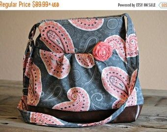 CHRISTMAS SALE Conceal Carry Purse, Medium Messenger Bag, Grey and Coral Paisley, Conceal Carry Handbag, Concealed Carry Purse, Conceal and