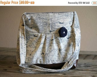 CHRISTMAS SALE Conceal Carry Purse, Medium Messenger Bag, Blue Maps, Conceal Carry Handbag, Concealed Carry Purse, Conceal and Carry, Travel