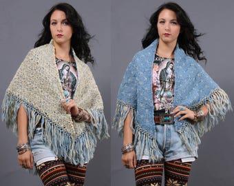 Vintage 20s shawl • knit flower shawl • knit flower pattern • reversible • fringed shawl • festival wear • burning man outfit • coachella
