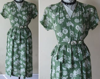 Swing Era Vintage 40s Dress Olive Green & White Floral Print Rayon with Flutter Peplum S M