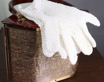 Vintage 50s White Crochet Short Dress Gloves