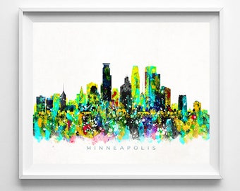 Minneapolis Skyline, Print, Minnesota Wall Art, Cityscape, Minneapolis Art, Watercolor Painting, City Skyline, Valentines Day Gift