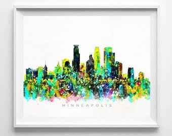 Minneapolis Skyline, Print, Minnesota Wall Art, Cityscape, Minneapolis Art, Watercolor Painting, City Skyline, Mothers Day Gift