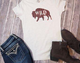 Wild and Free Buffalo Plaid Shirt, Boho Tee, Country Tee, Southern Shirt, Southwestern Tee, Western Shirt, Gypsy Shirt, Adventure T Shirt