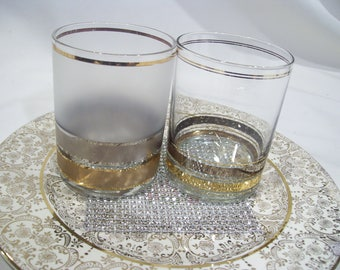 2 Culver Regency Rock Tumbler Old Fashion Silver and Gold Bands Frosted Glass Mid Century Set of 2