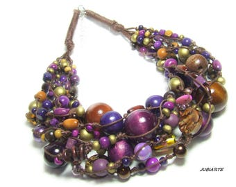PLUMS IN CHOCOLATE Braided Necklace, Multicolored Necklace, Multistrand, Wooden Beads, Violet, Brown, Gold