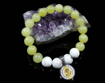 Peridot Bracelet -with Stainless Steel Saint Benedict & Howlite, 8mm, Saint Benedict Bracelet, Stainless Steel Saint Benedict, Protection