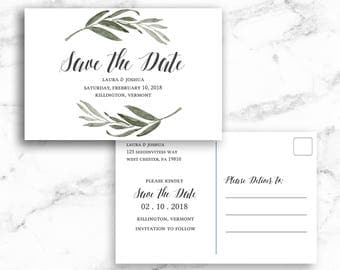 Save the Date Postcard Post Card Watercolor Branch Leaves - Printable Editable Template Instant Download JPEG PDF