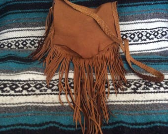 Hand Made Leather Purse, Deer Hide Bag with Fringe and Braid Strap, Chestnut Brown Deerskin Fringed Purse with Pocket, Handcrafted in Canada