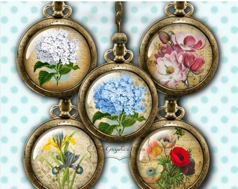 80%  off Graphics Sale Victorian Flowers Bottle Cap Images Digital Collage Sheet Round Images 1 Inch Button Circles Jewelry Making Scrapbook