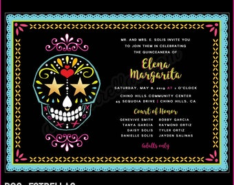 NEON SKULL Quincenera / Sweet 16 / Save The Date / Party Invitations