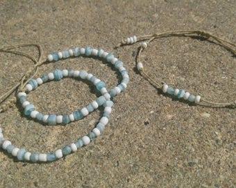 Blue Stackable Hemp Bracelet Set Handmade, Hemp Anklet, Beaded Bracelet, Hemp Jewelry, Summer Jewelry, Ankle Bracelet.