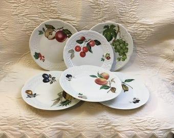 Louis Lourioux Porcelaine Canape Plates, Fruited Canape Plates, Scalloped, Embossed Porcelain,  marked LOLFRU, Set of 6
