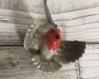 Ceramic robin necklace, Christmas Robin, Bird Necklace, Unique gift for her