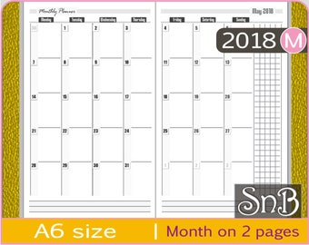 SnB A6 - Month on 2 pages - Monday start - 2017 / 2018 - Printable Monthly insert for Traveler's Notebooks