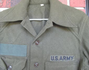 US Army Military - Wool Shirt -Woodbury  Military Field Shirt size  S  Olive Drab  Wool - Cold Weather Shirt -