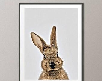 Rabbit Print, Bunny, Animal Print, Woodland Animal illustration Nursery Decor Oil Painting, Baby Shower, Kids Room Wedding Gift, ANM-001