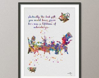 Mad Hatter Tea Party Alice in Wonderland Watercolor Print  Tea Time Kitchen Art For Kids Wedding gift Wall Hanging [NO 136]