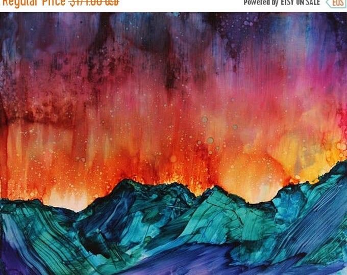 SALE Mountain Art - Original Watercolor Painting - Celestial Sunset Landscape - Wall Art