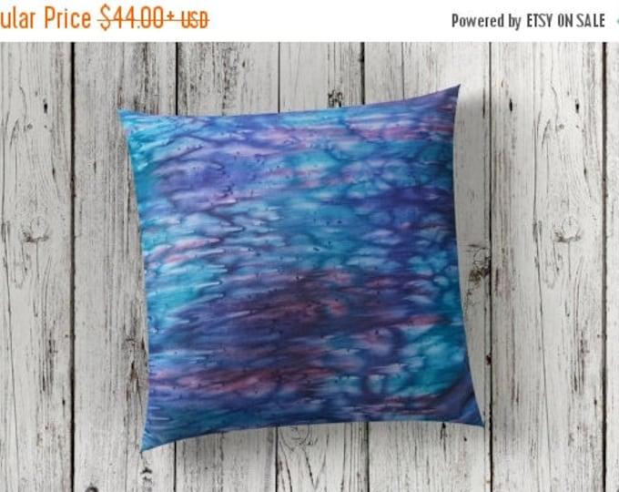 SALE Nautical Pillow Cover 18x18-Watercolor Silk Pillows-Ocean Decor-Modern Decor-Navy Blue Pillow-Teal Decor-Gift for Him