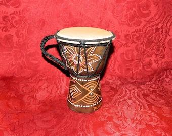 Vintage Miniature Souvenir Djembe Drum Hand Painted Punta Cana